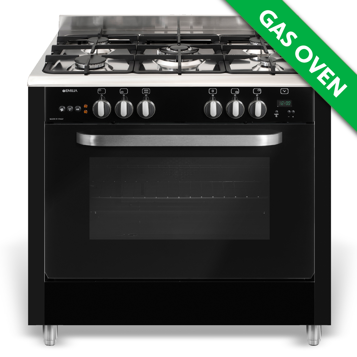 90cm Gloss Black Gas Cooker with Fan Assisted Gas Oven